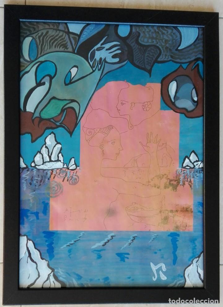 ANTONI MARTÍ (SEUDÓNIMO, CASSERRES 1.960) - ÓLEO ENMARCADO CRISTAL 46 X 34 (Arte - Pintura Directa del Autor)