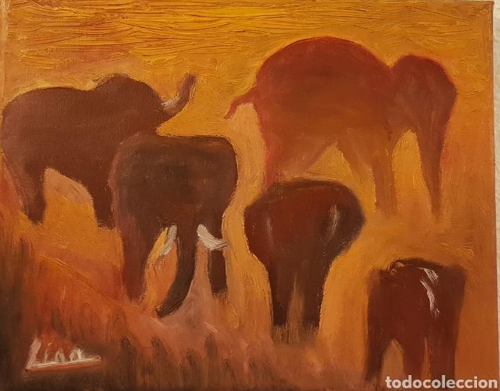 Arte: Elefantes.Oleo sobre lienzo 20x25 cm Obra original firmada Catalina Franco. - Foto 2 - 134089190