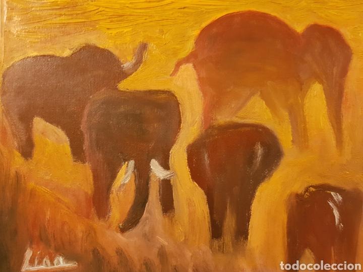 Arte: Elefantes.Oleo sobre lienzo 20x25 cm Obra original firmada Catalina Franco. - Foto 3 - 134089190