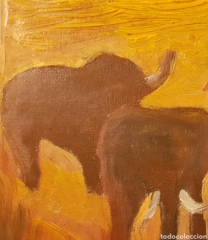 Arte: Elefantes.Oleo sobre lienzo 20x25 cm Obra original firmada Catalina Franco. - Foto 5 - 134089190