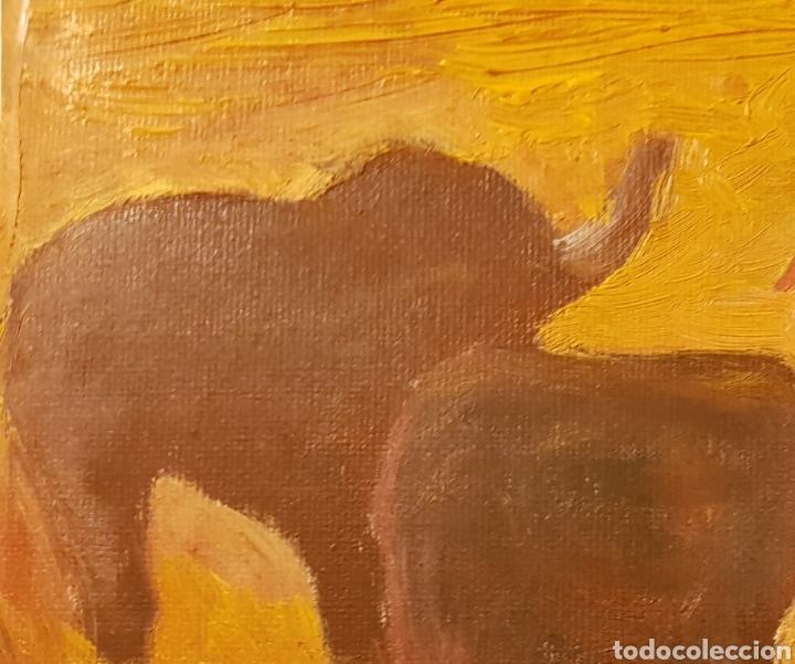 Arte: Elefantes.Oleo sobre lienzo 20x25 cm Obra original firmada Catalina Franco. - Foto 6 - 134089190
