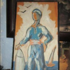 Arte: RARA PINTURA ANTIGUA OLEO SOBRE MADERA PESCADOR TABLA DEVESA ALICANTE CIRCA 1950. Lote 134096650