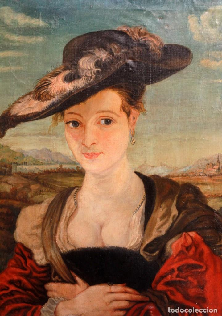 ANÓNIMO - EL SOMBRERO DE PAJA (SEGÚN RUBENS) 49X58CM (Arte - Pintura - Pintura al Óleo Antigua sin fecha definida)