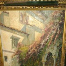 Arte - ANTIGUA PINTURA AL OLEO SOBRE TABLE PATIO SEVILLANO - 134130686