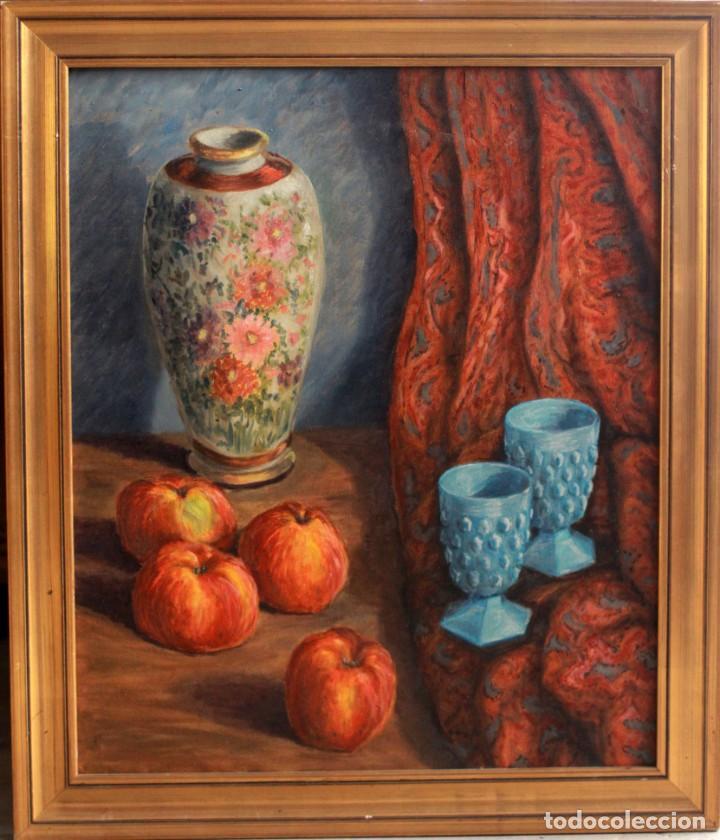 ESCUELA ESPAÑOLA S.XX, BODEGÓN CON JARRÓN. ENMARCADO. 54X64CM (Arte - Pintura - Pintura al Óleo Contemporánea )