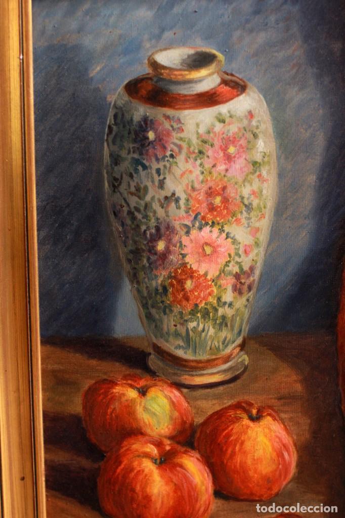 Arte: ESCUELA ESPAÑOLA S.XX, BODEGÓN CON JARRÓN. ENMARCADO. 54X64CM - Foto 2 - 134171158