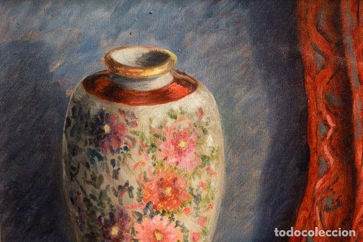 Arte: ESCUELA ESPAÑOLA S.XX, BODEGÓN CON JARRÓN. ENMARCADO. 54X64CM - Foto 5 - 134171158