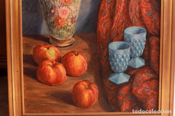 Arte: ESCUELA ESPAÑOLA S.XX, BODEGÓN CON JARRÓN. ENMARCADO. 54X64CM - Foto 7 - 134171158