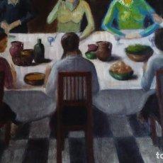 Arte: CUADRO AL ÓLEO FIRMADO M. GOMEZ 79. ESCENA DE COMIDA O CENA FAMILIAR. Lote 134178390