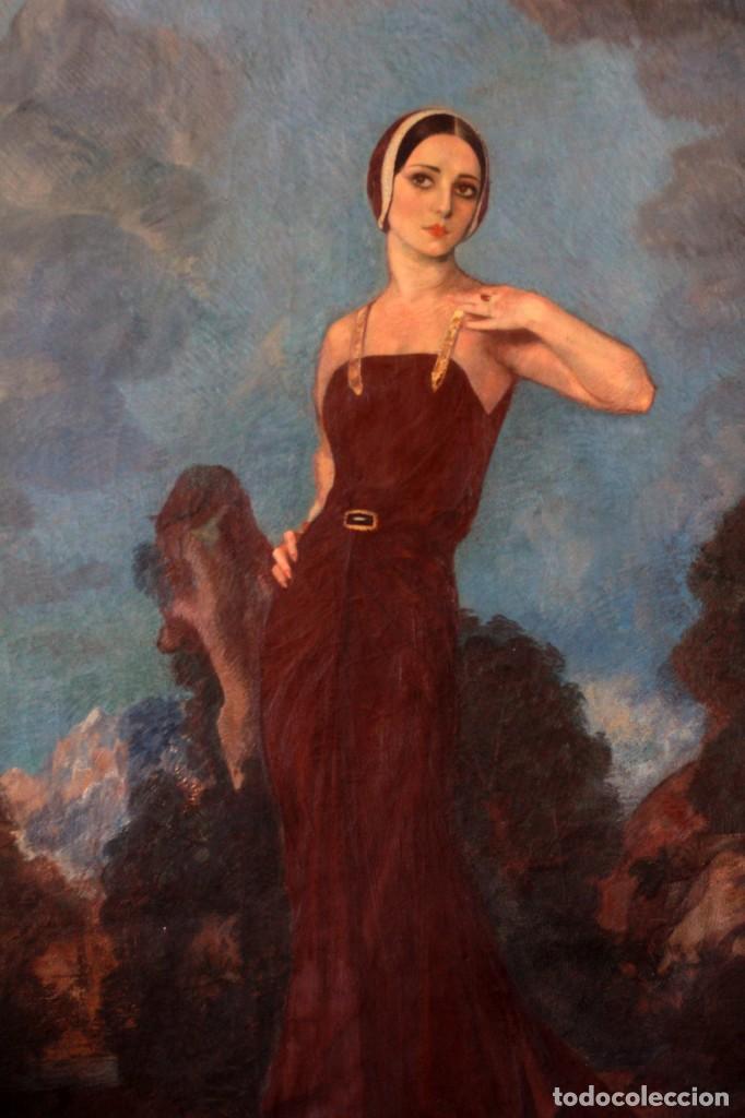 JOSÉ MARÍA MUÑOZ MELGOSA (BURGOS, 1897 - MADRID, 1935) MUSEAL RETRATO DE JOVEN DAMA. 140X217CM (Arte - Pintura - Pintura al Óleo Moderna siglo XIX)