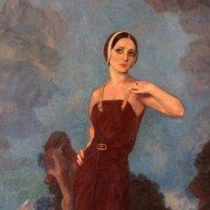 Arte: JOSÉ MARÍA MUÑOZ MELGOSA (BURGOS, 1897 - MADRID, 1935) MUSEAL RETRATO DE JOVEN DAMA. 140X217CM. Lote 134178822