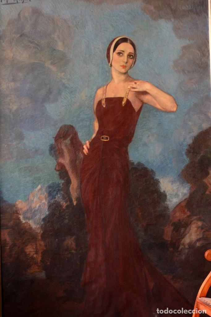 Arte: José María Muñoz Melgosa (Burgos, 1897 - Madrid, 1935) Museal retrato de joven dama. 140x217cm - Foto 2 - 134178822