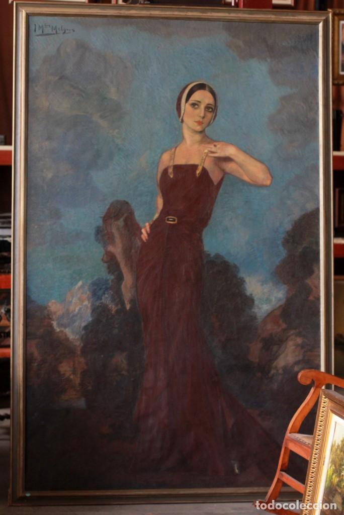 Arte: José María Muñoz Melgosa (Burgos, 1897 - Madrid, 1935) Museal retrato de joven dama. 140x217cm - Foto 3 - 134178822