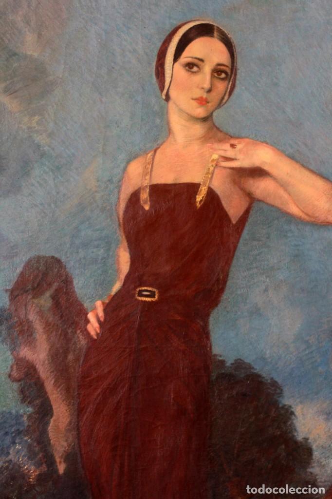 Arte: José María Muñoz Melgosa (Burgos, 1897 - Madrid, 1935) Museal retrato de joven dama. 140x217cm - Foto 4 - 134178822