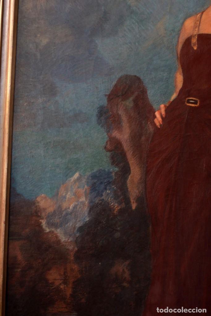 Arte: José María Muñoz Melgosa (Burgos, 1897 - Madrid, 1935) Museal retrato de joven dama. 140x217cm - Foto 5 - 134178822