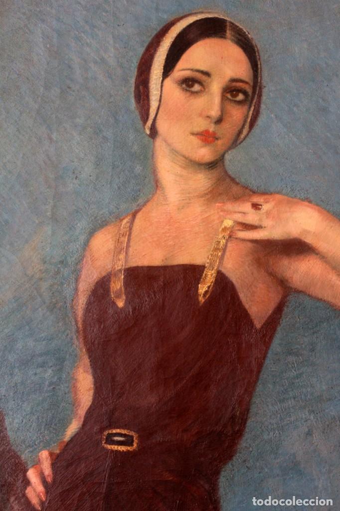 Arte: José María Muñoz Melgosa (Burgos, 1897 - Madrid, 1935) Museal retrato de joven dama. 140x217cm - Foto 6 - 134178822