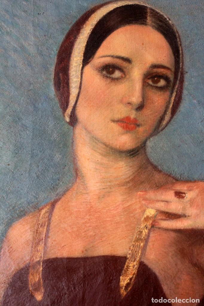 Arte: José María Muñoz Melgosa (Burgos, 1897 - Madrid, 1935) Museal retrato de joven dama. 140x217cm - Foto 7 - 134178822