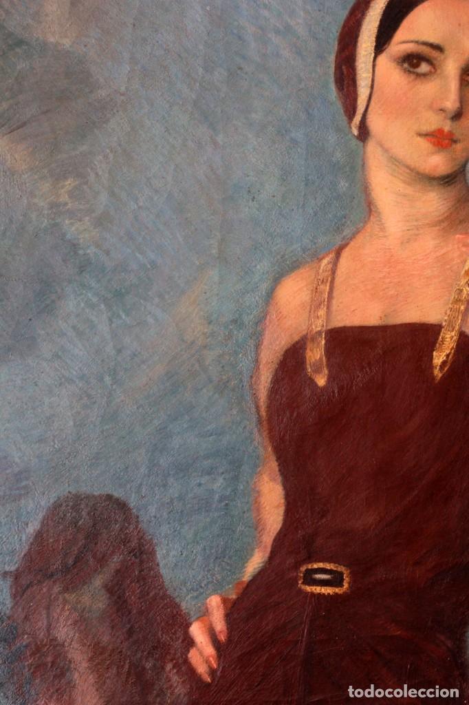 Arte: José María Muñoz Melgosa (Burgos, 1897 - Madrid, 1935) Museal retrato de joven dama. 140x217cm - Foto 8 - 134178822