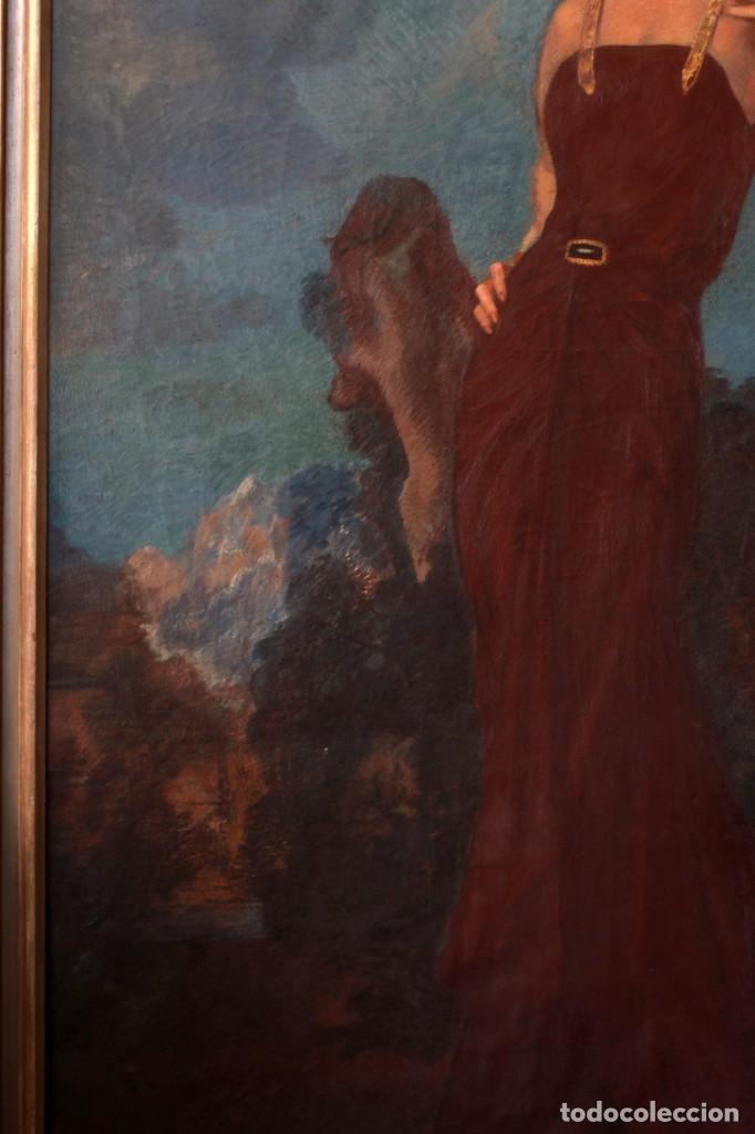 Arte: José María Muñoz Melgosa (Burgos, 1897 - Madrid, 1935) Museal retrato de joven dama. 140x217cm - Foto 10 - 134178822
