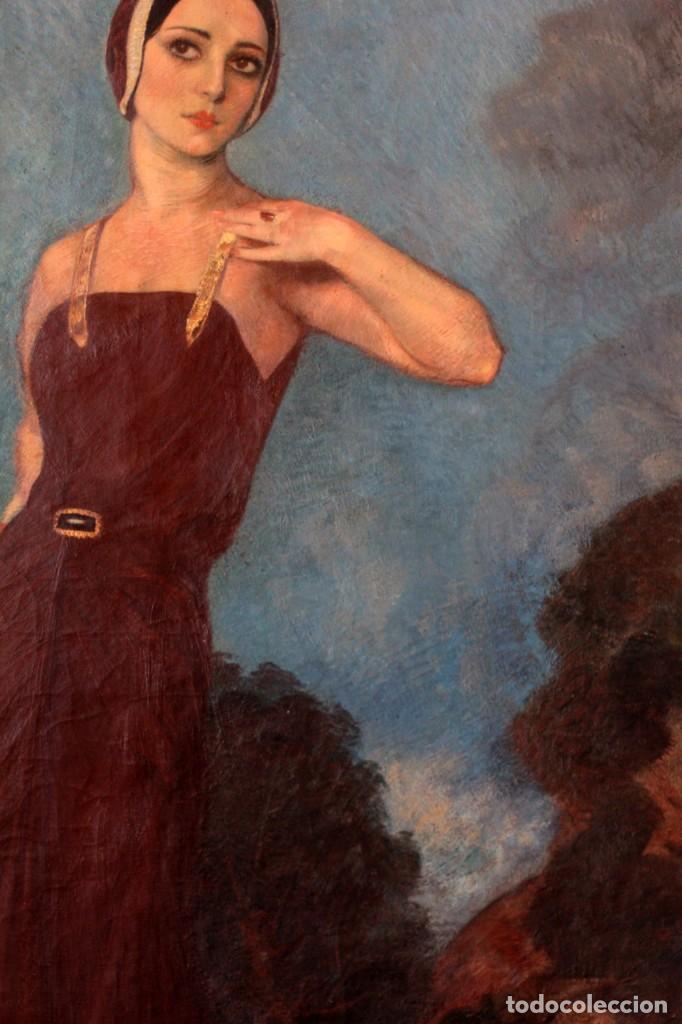 Arte: José María Muñoz Melgosa (Burgos, 1897 - Madrid, 1935) Museal retrato de joven dama. 140x217cm - Foto 11 - 134178822