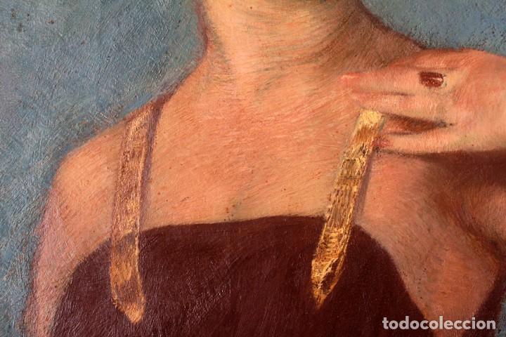 Arte: José María Muñoz Melgosa (Burgos, 1897 - Madrid, 1935) Museal retrato de joven dama. 140x217cm - Foto 12 - 134178822