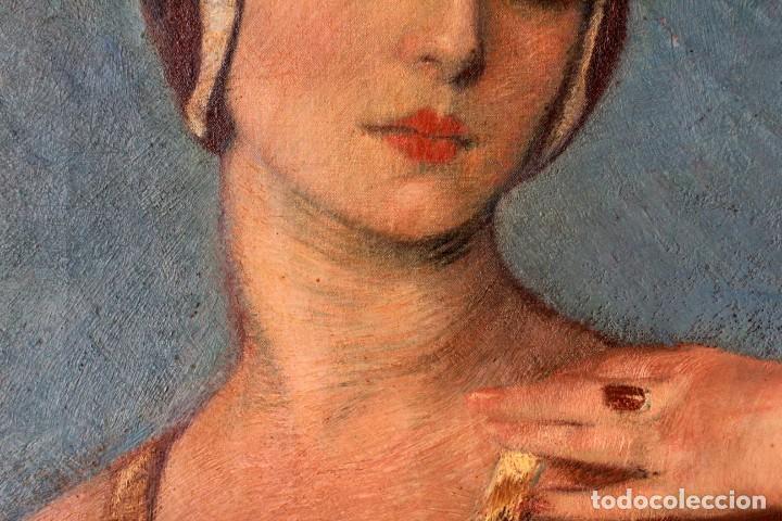 Arte: José María Muñoz Melgosa (Burgos, 1897 - Madrid, 1935) Museal retrato de joven dama. 140x217cm - Foto 13 - 134178822