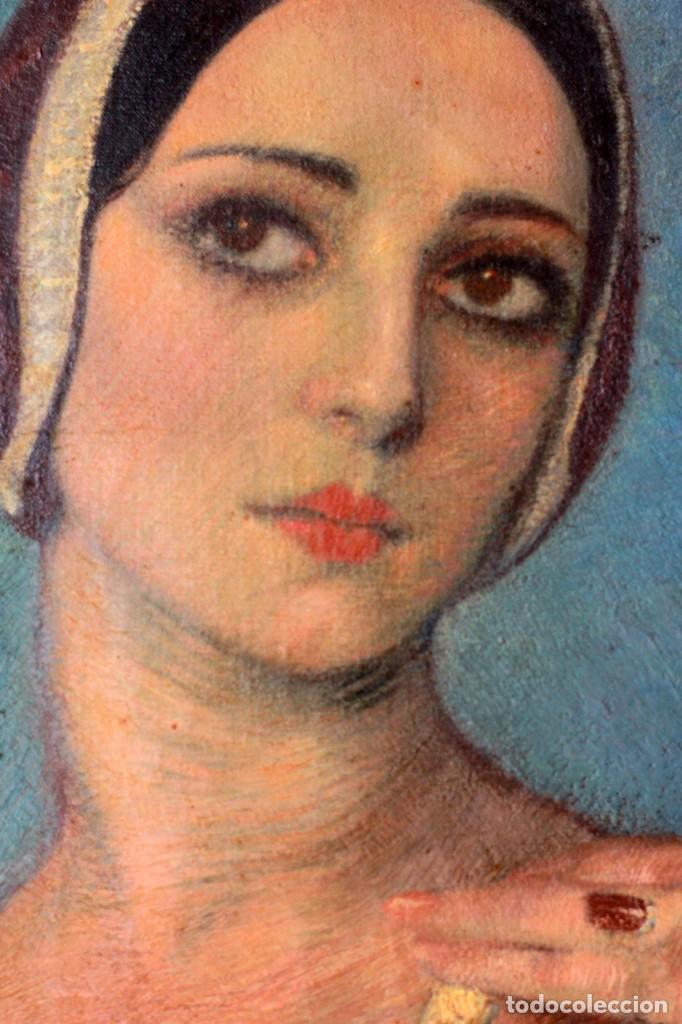 Arte: José María Muñoz Melgosa (Burgos, 1897 - Madrid, 1935) Museal retrato de joven dama. 140x217cm - Foto 14 - 134178822