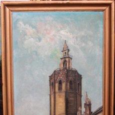 Arte: J. RUIZ, VISTA DEL MICALET DE VALENCIA, FIRMADA Y FECHADA EN 1932. ENMARCADA. 60X35CM. Lote 134179254