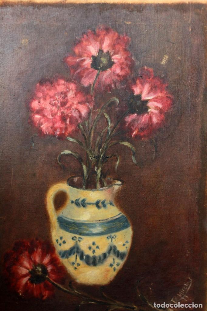 R. MIRALLES, OLEO SOBRE LIENZO, BODEGÓN DE FLORES, RAMON MIRALLES BOSCA? 32X44CM (Arte - Pintura - Pintura al Óleo Contemporánea )