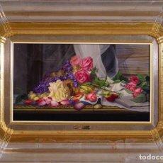 Arte: ROSAS - VICENTE ESPARZA - OLEO SOBRE LIENZO - 78X58 CM. Lote 134279895
