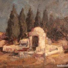 Arte: ESCUELA ESPAÑOLA S.XX, LA FUENTE, OLEO SOBRE TABLA. FIRMADO Y FECHADO. 35X27CM. Lote 134282394