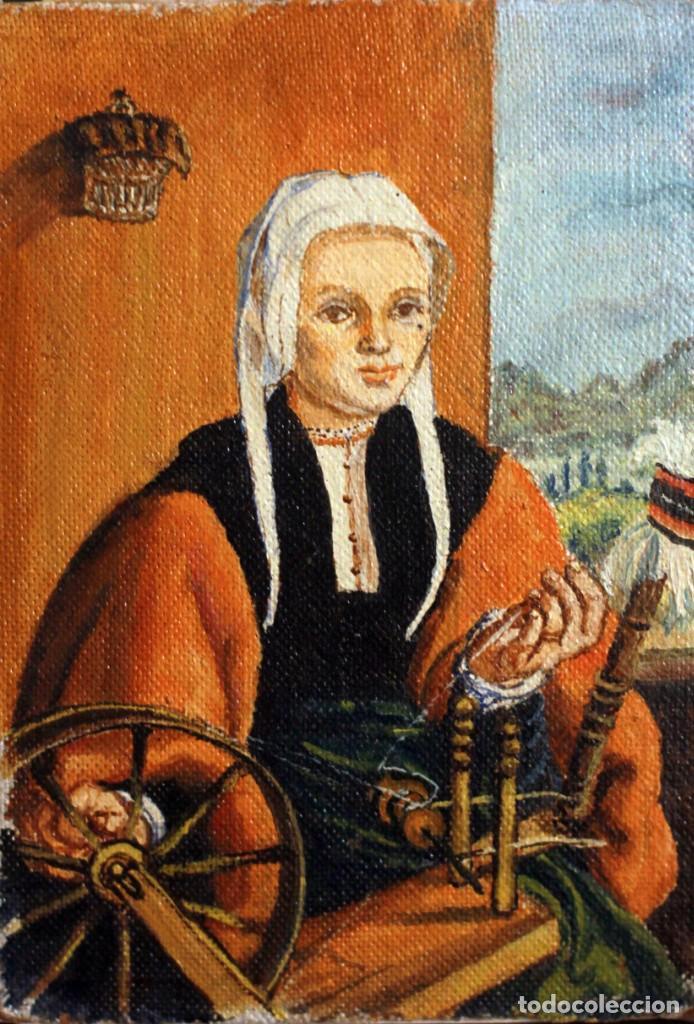 ANÓNIMO ESCUELA ESPAÑOLA, LA HILANDERA (SEGÚN ESCUELA FLAMENCA DEL XVII) OLEO/TABLA 15X21CM (Arte - Pintura - Pintura al Óleo Contemporánea )