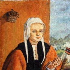 Arte: ANÓNIMO ESCUELA ESPAÑOLA, LA HILANDERA (SEGÚN ESCUELA FLAMENCA DEL XVII) OLEO/TABLA 15X21CM. Lote 134282974