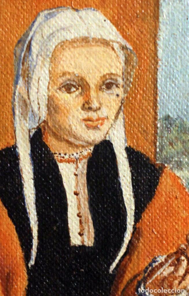 Arte: Anónimo escuela española, La hilandera (según escuela Flamenca del XVII) oleo/tabla 15x21cm - Foto 2 - 134282974