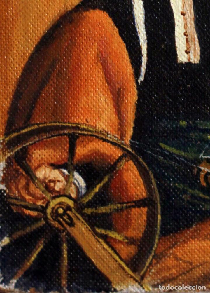 Arte: Anónimo escuela española, La hilandera (según escuela Flamenca del XVII) oleo/tabla 15x21cm - Foto 3 - 134282974