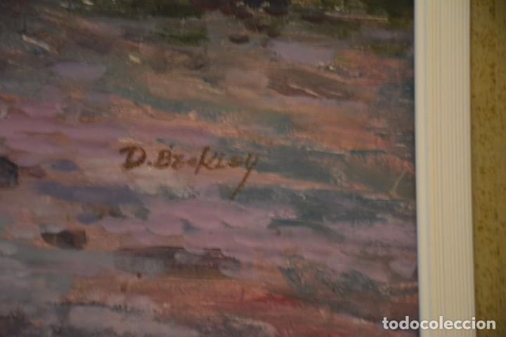 Arte: Pintura al óleo sobre lienzo, enmarcada, firmada, paisaje puntillista. - Foto 2 - 134338554