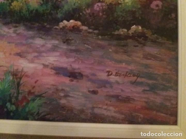 Arte: Pintura al óleo sobre lienzo, enmarcada, firmada, paisaje puntillista. - Foto 3 - 134338554