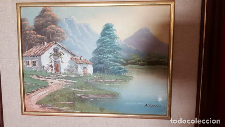 Arte: Casa en el lago. Pintura de oleo sobre lienzo. Enmarcada y firmada. - Foto 2 - 134371330