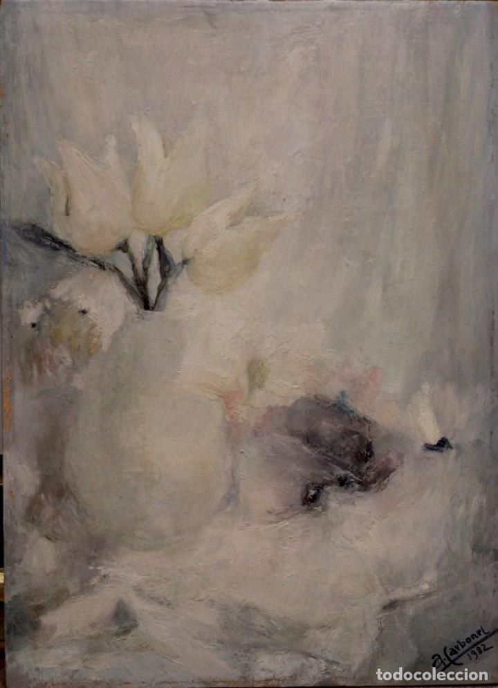 BODEGÓN FLORAL EN TONOS CLAROS, ESC. ESPAÑOLA S.XX, FIRMADO Y FECHADO. 24X33CM (Arte - Pintura - Pintura al Óleo Contemporánea )