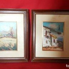 Arte: PAISAJES CON CASA. PINTURAS DE OLEO SOBRE LIENZO. ENMARCADAS.. Lote 134383562
