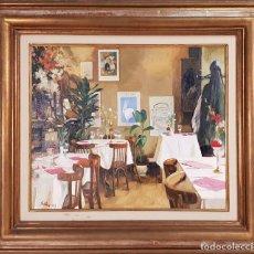 Arte: VISTA DE RESTAURANTE. ÓLEO SOBRE LIENZO. FRANCISCO SILLUÉ. 1993. . Lote 134384554