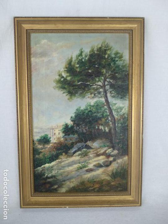 PAISAJE CAMPESTRE- PALACETE DE CAMPO - OLEO FIRMADO - MARCO EN MADERA DORADO - (Arte - Pintura - Pintura al Óleo Moderna siglo XIX)