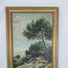 Arte: PAISAJE CAMPESTRE- PALACETE DE CAMPO - OLEO FIRMADO - MARCO EN MADERA DORADO - . Lote 134445726