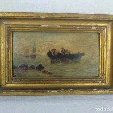 Arte: PAISAJE MARINO- PESCADORES FAENANDO - OLEO SOBRE TABLA FIRMADO - MARCO DE LA ÉPOCA EN MADERA DORADO. Lote 134446170