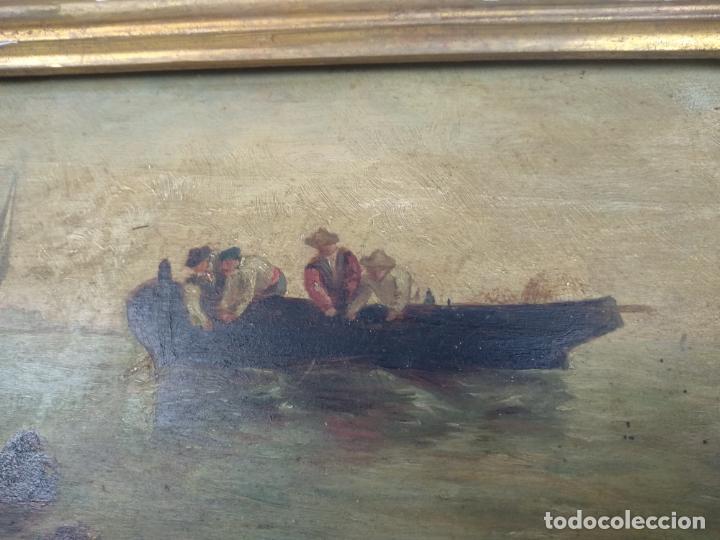 Arte: PAISAJE MARINO- PESCADORES FAENANDO - OLEO SOBRE TABLA FIRMADO - MARCO DE LA ÉPOCA EN MADERA DORADO - Foto 3 - 134446170
