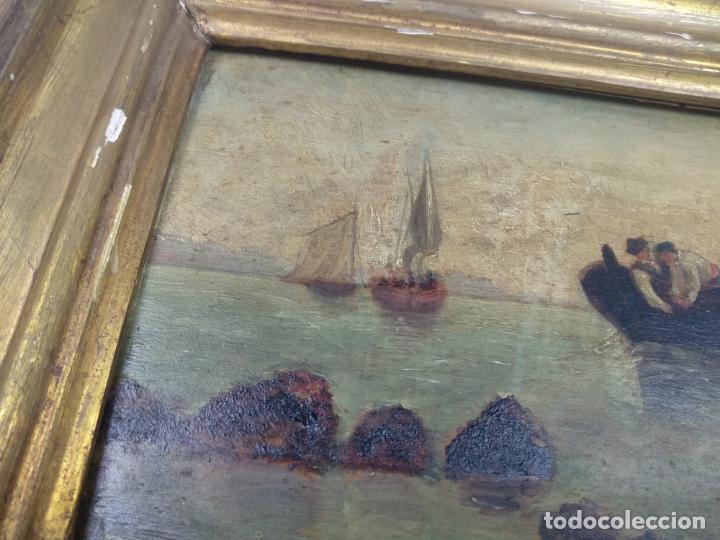 Arte: PAISAJE MARINO- PESCADORES FAENANDO - OLEO SOBRE TABLA FIRMADO - MARCO DE LA ÉPOCA EN MADERA DORADO - Foto 4 - 134446170
