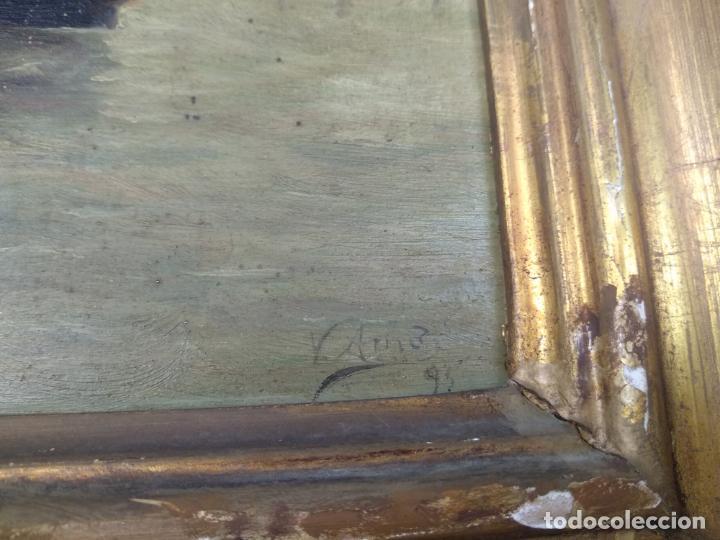 Arte: PAISAJE MARINO- PESCADORES FAENANDO - OLEO SOBRE TABLA FIRMADO - MARCO DE LA ÉPOCA EN MADERA DORADO - Foto 5 - 134446170