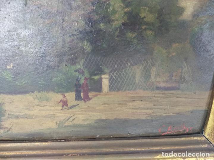 Arte: ESCENA COSTUMBRISTA - MUJERES Y NIÑOS PASEANDO EN UN PARQUE - OLEO SOBRE CARTONÉ O SÍMIL FIRMADO - - Foto 3 - 134446826