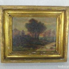 Arte: ESCENA CAMPESTRE - PAISAJE CASITA DE CAMPO - OLEO SOBRE TABLA FIRMADO - MARCO DORADO DE LA ÉPOCA -. Lote 134447362