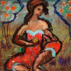 Arte: FIRMADO MORÉ. OLEO SOBRE CARTULINA. PERSONAJE FEMENINO. Lote 134515930
